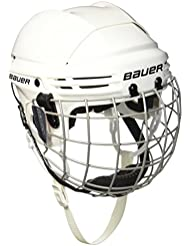 Bauer 2100 - Casco de hockey con rejilla de protección facial para niño blanco blanco Talla:talla única