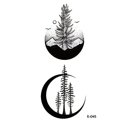 Wyuen 5fogli di tatuaggi adesivi con motivo a luna e montagna, per body art per donne e uomini, finto tatuaggio, impermeabile, temporaneo, 10,5x 6cm, e-045