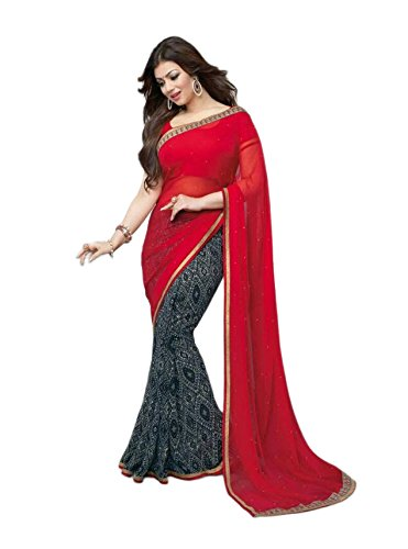 Vedant Georgette Saree (A_Red_Black_Red)