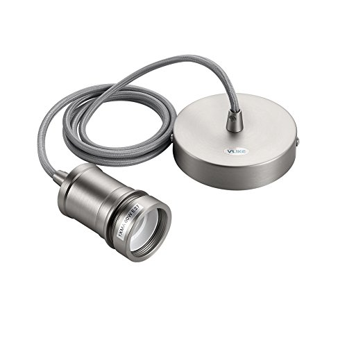 Satin-matt-nickel (VLIKE PL06 Metalldecke Rose Retro Moderne E27 Lampenfassung Suspension Flex Deckenpendelleuchte Kit (Matt Satin Nickel))
