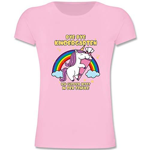 Rosa Mädchen T-shirt (Einschulung und Schulanfang - Bye Bye Kindergarten ich Glitzer jetzt in der Schule - 128 (7-8 Jahre) - Rosa - F131K - Mädchen Kinder T-Shirt)