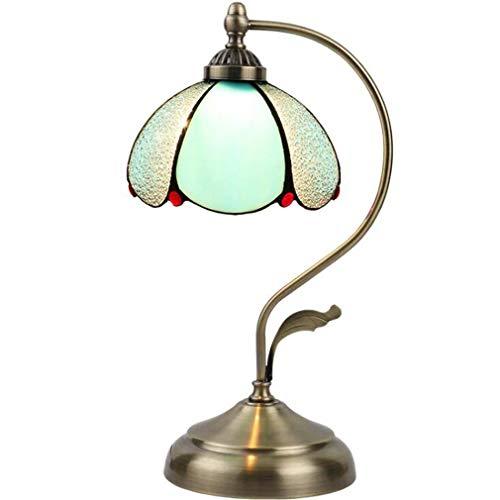 11 Zoll Tiffany Stil Mini Schreibtischlampe, Mittelmeer farbiges Glas hellblau Tisch Lampenschirm für Restaurant Bar Cafe Dekoration Beleuchtung, 110-240V - Farbige Mini-glas