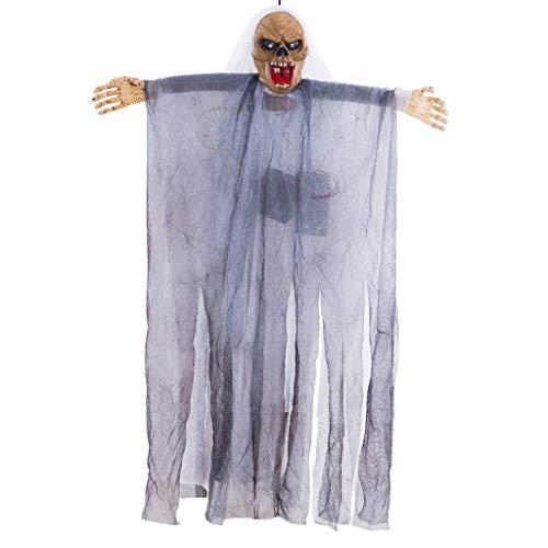 chenpaif Halloween Hanging Ghost animierte sprechendes Skelett mit gruseligem Sound leuchtende Augen Spukhaus Hof beängstigend Party Dekoration Requisiten weiß