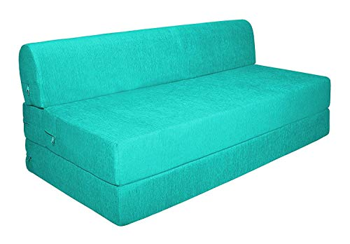 Aart Store Sofa Cum Bed Two Seater 4x6 Two Seater Sleeps & Comfortably Perfect for Guests Sky Blue Color