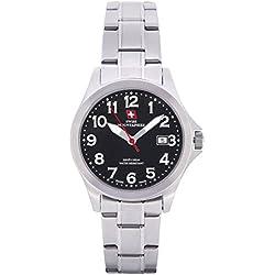 Swiss Mountaineer Ladies Watch Stainless Steel Bracelet Black Dial Date Display Easy Read SM8035