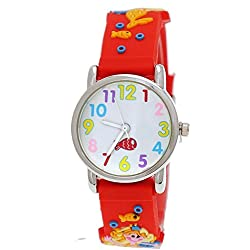 Cute Pure Time Children's Watch-Kids Silicone Watch With Mermaid Motif Red Watch Box