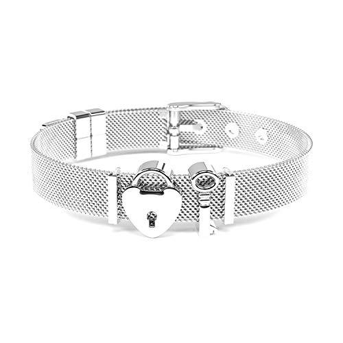 THIORA® - Charmband Set | Mesh Armband Damen | Individuelle Anhänger Charms | Classic Line | Schloss | Bracelet (Unlocked Love - Silber)