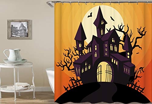 dsgrdhrty Orange Background White Moon Black Halloween Castle Fortress Phantom Waterproof Bathroom Curtain Antibacterial Wearable and Washable (Orange Moon Halloween)