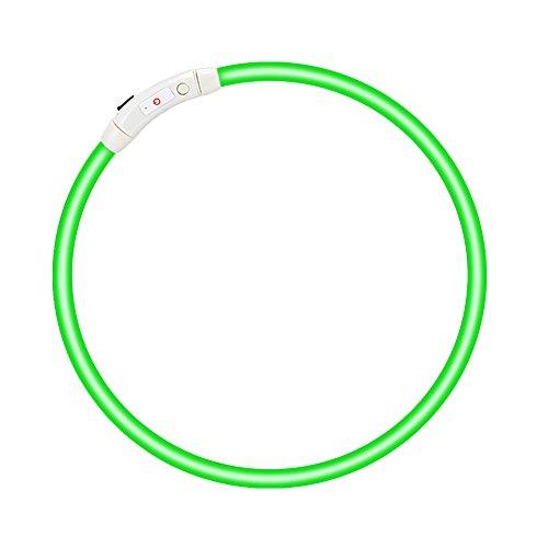 LED Hundehalsband- Fraelc Halsband Hund LED USB Wiederaufladbar Längenverstellbarer Blinkende Haustier Sicherheit Kragen für Hunde und Katzen - Grün 27,56 Zoll / 70cm (Hundehalsbänder, Katze, Haustier-kragen)