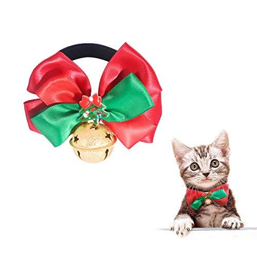 PEDOMUS Haustier Weihnachtsbaum Fliege mit schönen kleinen Glocke,Fliege Kleidung für Katze und Kleiner Hund. (S)