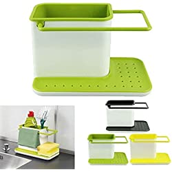 3 IN 1 Kitchen Sink Organizer for Dishwasher Liquid, Brush, Cloth, Soap, Sponge, etc.