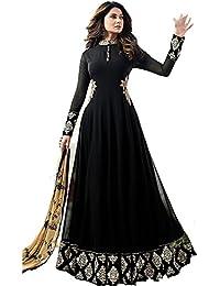 Special Mega Sale Festival Offer C&H Black Georgette Designer Semi-Stitched Anarkali Suits