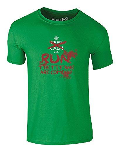 Brand88 - Run! The Titans Are Coming!, Erwachsene Gedrucktes T-Shirt Grün/Weiß/Transfer
