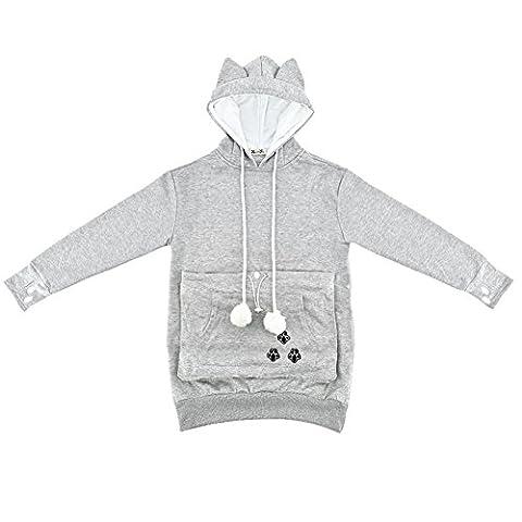 Kangaroo Pocket Hold Your Pet Cat Dog Hoodie Sweatshirt Coat (Asian size L, Gray)