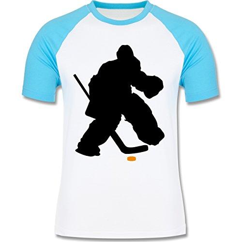 Eishockey - Eishockeytorwart Towart Eishockey - zweifarbiges Baseballshirt  für Männer Weiß/Türkis
