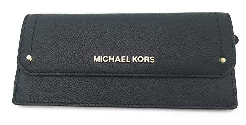 Michael Kors Geldbörse, 18x10x2 cm, Echtes Leder, MK-Schriftzug goldfarben, Mod: *HAYES* Damen (Schwarz)