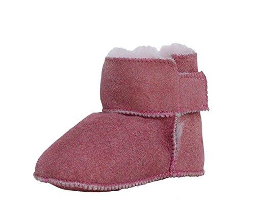 warme Baby Lammfell Boots mit Klettverschluss rosa, Gerbung ohne schädliche Stoffe, Gr. 16-17 Rosa