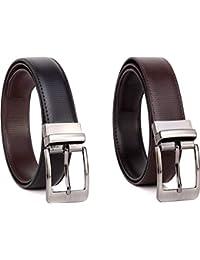 COOVS Men's Leather Reversible Belt (Black, Free Size)