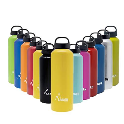 Laken Unisex - Adulto Alluminio Giallo, BPA Borraccia in Alluminio Classic 1 Litro, PBA Free