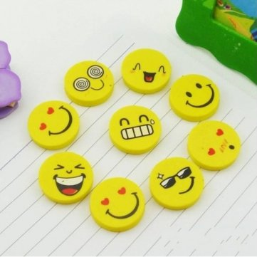 High Quality 4 X Novelty Stationery Smile Face Expression Round Erasers For Kids