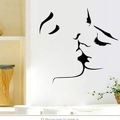 Zybnb Liebhaber Kuss Silhouette Wandaufkleber Schwarz Kuss Gesicht Skizze Wand Poster Wandaufkleber Dekoration Zubehör Aufkleber 59X57 Cm