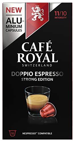 Café Royal Doppio Espresso Strong Edition 50 Nespresso kompatible Kapseln (aus Aluminium, Intensität 11/10) (5 x 10 Kaffeekapseln)