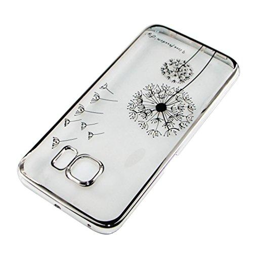 iPhone 5 Hülle,iPhone 5S Hülle,iPhone SE Hülle,EMAXELERS Hard PC Case Phone Holster Transparent Handy-Tasche Hülle für Apple iPhone 5/5S/SE Hülle Löwenzahn Pattern Etui Schlank Fest Hülle Diamond Blin Silver Dandelion