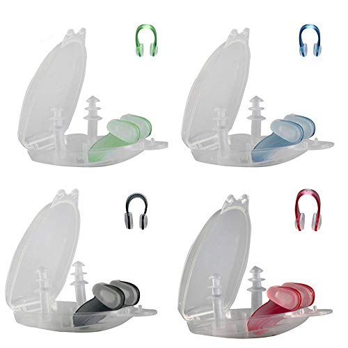 4 Packung Nasenklammer und Schwimm Ohrstöpsel Set Swimming Nase Clip Ear Plugs für Erwachsene und Kinder, FLYFISH 4 Farben Silikon Zum Schwimmen in Einer Transparenten Fall