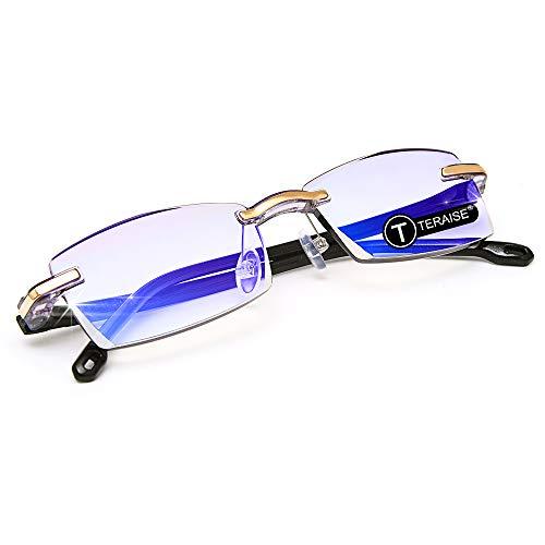 TERAISE Randlose Lesebrille Mode Diamant Schneiden Design Anti-müdigkeit Klare Linse Brillenleser für Männer(2.0x) -