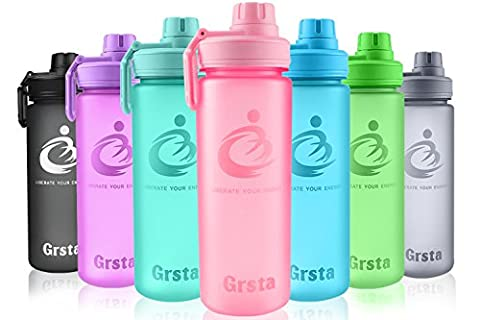 Grsta Sport Water Bottle 700ml - Leak Proof BPA Free with Eco-Friendly Reusable Tritan Plastic, Best Fitness Drinking Water Bottles for Kids, Gym, Yoga, Hiking, Hydration, Canteens, Office - Screw top & Gift