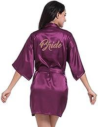 VENI MASEE Damen Bride Morgenmantel Pure Farbe Weiche Bride Kimono Hochzeitsfeier 2 Stil zu Wählen(S-2XL)