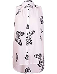Womens Plus Size Chiffon Butterfly Design Ladies Sleeveless Uneven Hem Shirt Top