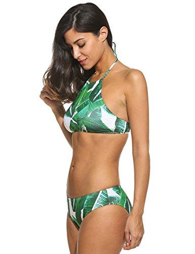 Ekouaer Damen Druck Bikini-Set Push up Badenanzug Blumendruck Neckholder Swimsuit Zweiteilig Schwimmanzug Armee Grün