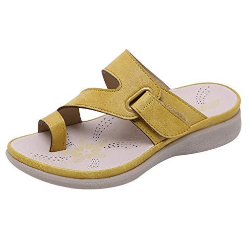 Dorical Sandalen für Mädchen,Böhmischen Slippers Mode Flache Casual Sandalen Strand Sommer Prinzessin schöne Flache Schuhe für Lässig, Mode, Party, Tanz(Gelb,8.5-9Jahre)
