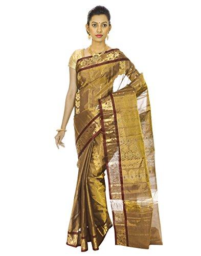 Mahaveer Designers Silk With Tissue Saree (Veera-5_Brown)