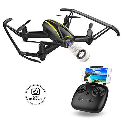 DROCON Drone con Telecamera HD (1280*720P) Grandangolare-Regolabile WiFi FPV Quadricottero Telecomando con Una chiave in decollo, 360 ° salti e rotoli, Altitude Hold e Headless Mode Per Principianti