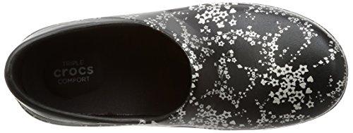 Crocs Neria Pro Sabots Graphic pour femme - Black/Silver Metallic