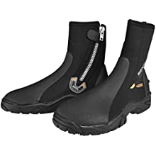 SEAC Unisex's Pro HD 6 mm Neoprene Wetsuit Boots with Side Zipper, X-Small, Black, XS