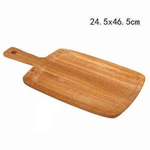 Zzaini Natürlichen gummibaumholz Rechteck Pizzabrett Mit Henkel,Brot backformen Tablett Hölzernen Paddel Große Brotteller Hausgemachte Pizza Käse Wurst-Boards-B 24.5x46.5cm (Käse Und Wurst-board)