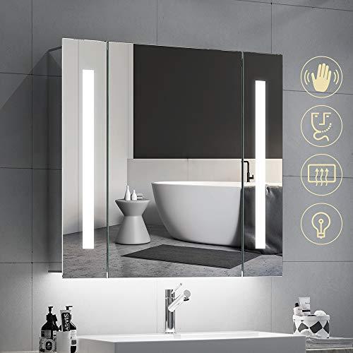 Quavikey LED beleuchtete Badezimmerspiegel Spiegelschrank Badezimmerschrank Wandspiegel Aluminium badezimmerspiegel mit hintergrundbeleuchteter LED Rasier Steckdose Demister 650 x 600mm