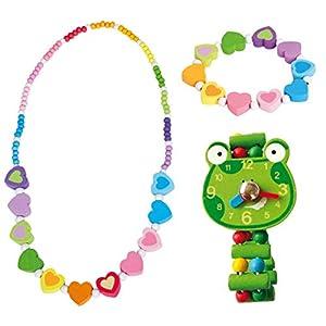 BINO 3 TLG. Set Holzschmuck Mädchenschmuck Kinderschmuck Motiv Regenbogen Herz – Halskette Armband Blume Rosa und Armbanduhr Frosch