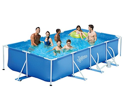 Summer Escapes Frame Pool 427x244x91cm Rahmen Swimming Pool Familien Schwimmbad mit Filterpumpe