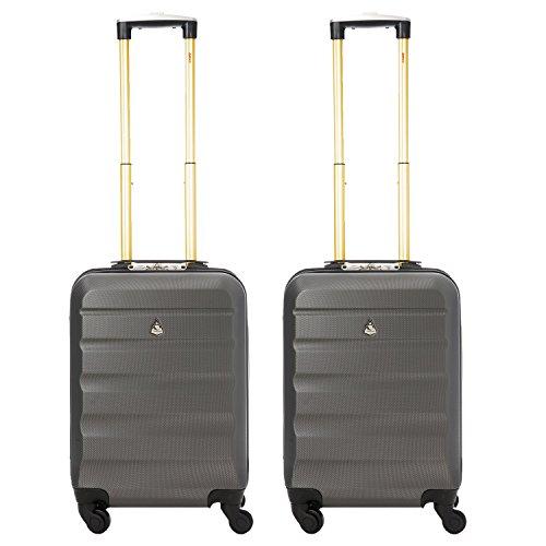Aerolite Set de 2 ABS Bagage Cabine à Main Valise Rigide Léger 4 Roulettes (Charbon / Or)