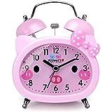 Plumeet tvillingklocka väckarklocka för barn, tyst, icke-tickande kvarts skrivbord sängstuga högt väckarklocka för flickor, s
