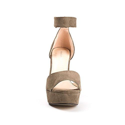 Ideal Shoes, Damen Sandalen Taupe