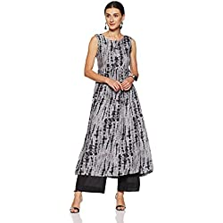 Indi lite Women's A-Line Kurta (ILBOHO16B_Black_Medium)