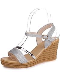 QIDI-sandales Semelle en Caoutchouc Femme Rose Tête Ronde Talon Plat Chaussures Simples (Taille : EU35/UK3)