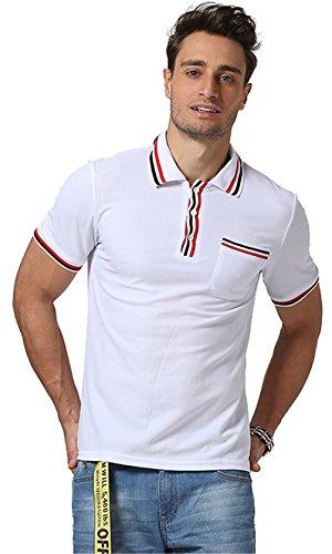 Whatlees Herren Urban Basic Polohemd Shirts mit Bunt Bahnen Design in verschiedene Farben B476-White