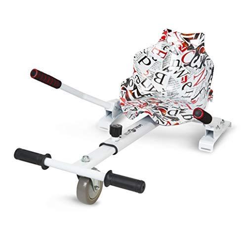 """ECOXTREM Hoverkart, Asiento Kart, Blanco diseño Letras, con manillares Laterales, Barra Ajustable. Accesorio para patinetes eléctricos Hoverboard 6'5"""", 8"""" y 10"""" para Paseos más cómodos."""
