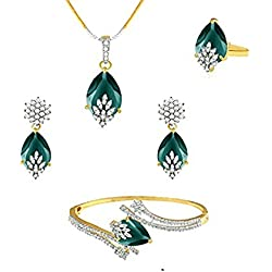 M CREATION American Diamond Combo of Pendant with Earrings, Bracelet and Ring for Women (Green)
